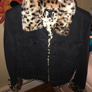 Faux cheetah fur black jean jacket